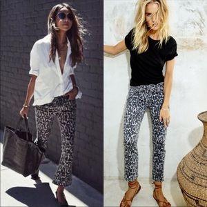PAIGE Rosie HW Poppy Leopard slim crop flare jeans